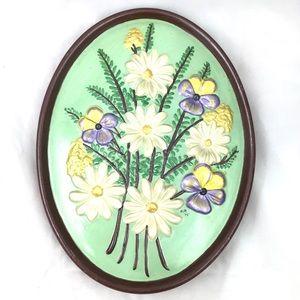 Vintage MCM Handpainted Flower Easter Wall Hanging